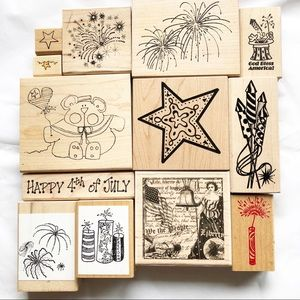 Wood Mounted Rubber Stamp Bundle 4th Of July